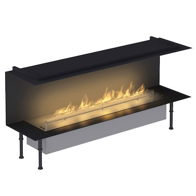 Planika Fireline FLA3/1190 Bio-Ethanol Cassette Fire - Three Sided Stainless Steel Standard