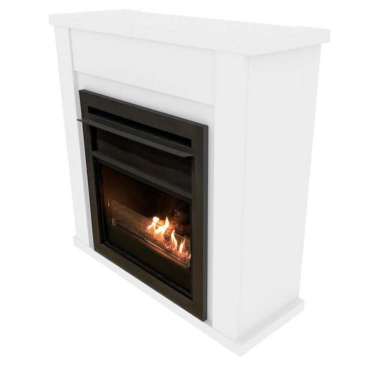 Planika Lincoln Bio-Ethanol Fireplace Suite - White