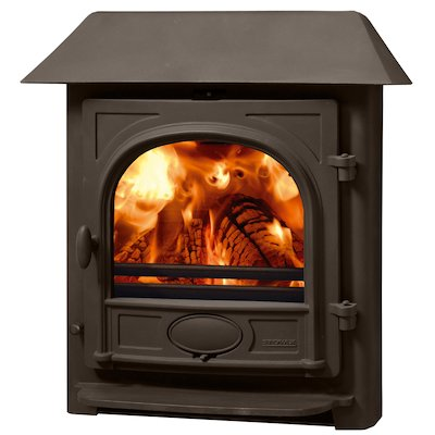 Stovax Stockton 7 Multifuel Inset Stove Metallic Brown Low Canopy Top
