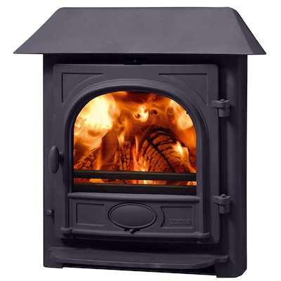 Stovax Stockton 7 Multifuel Inset Stove Metallic Blue Low Canopy Top