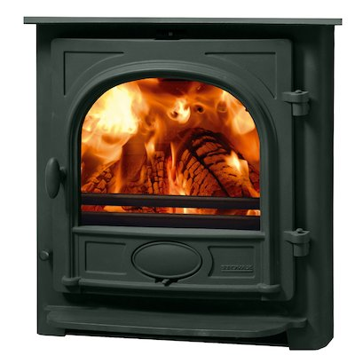 Stovax Stockton 7 Multifuel Inset Stove Metallic Green Flat Top