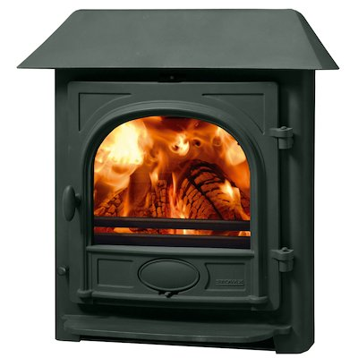Stovax Stockton 7 Multifuel Inset Stove Metallic Green Low Canopy Top
