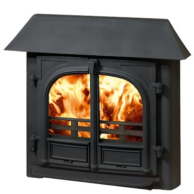 Stovax Stockton 8 Multifuel Inset Stove Black Low Canopy Top