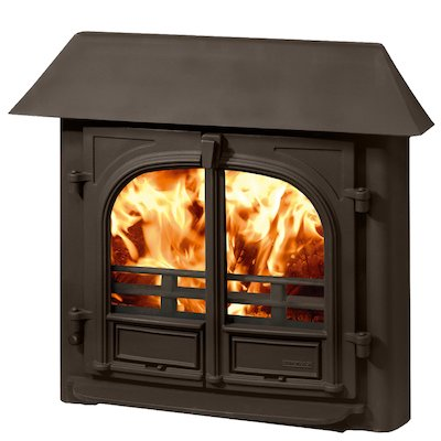 Stovax Stockton 8 Multifuel Inset Stove Metallic Brown Low Canopy Top