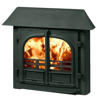 Stovax Stockton 8 Multifuel Inset Stove Metallic Green Low Canopy Top