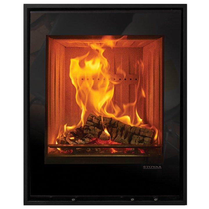 Stovax Elise 540 Tall Wood Cassette Fire Black Glass Four Sided Edge+ Frame - Black Glass