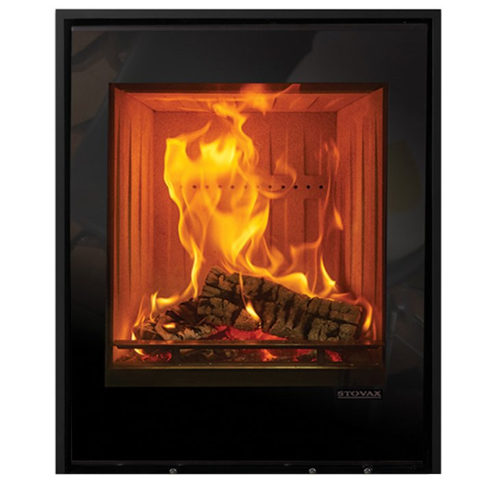 Stovax Elise 540 Tall Wood Cassette Fire Black Glass Three Sided Edge+ Frame - Black Glass