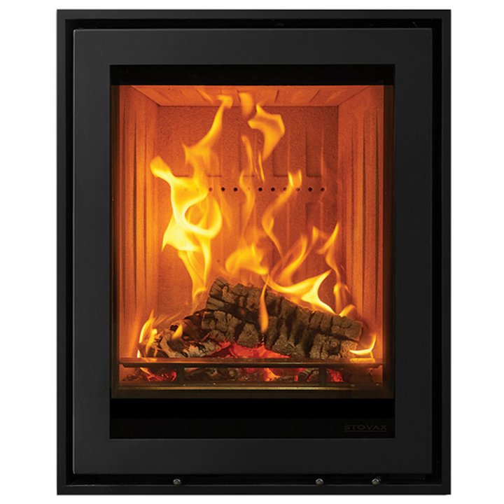 Stovax Elise 540 Tall Wood Cassette Fire Black Four Sided Edge+ Frame - Black