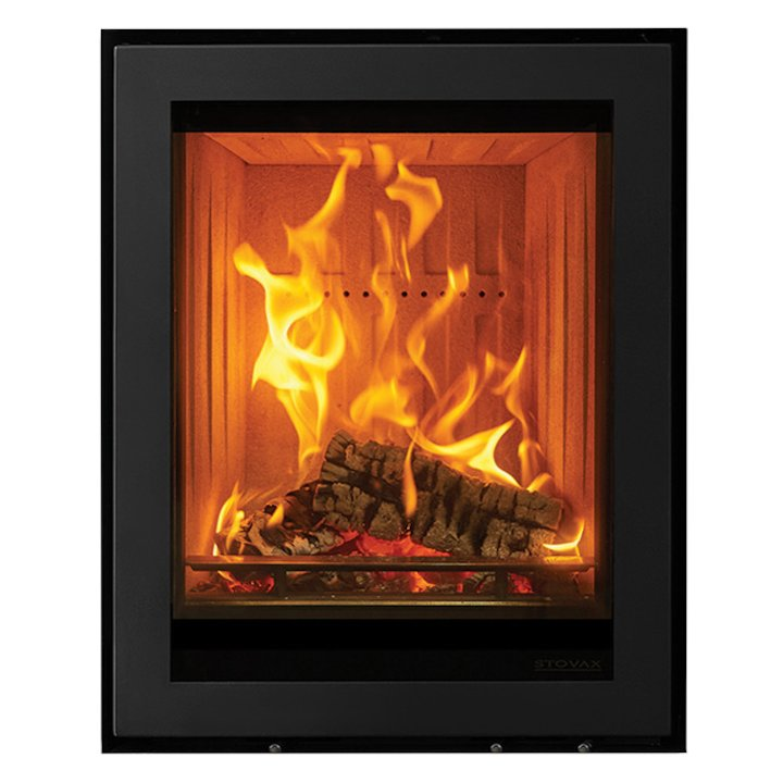 Stovax Elise 540 Tall Wood Cassette Fire Black Frameless/Edge - Black