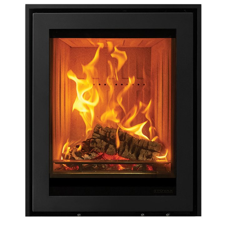 Stovax Elise 540 Tall Wood Cassette Fire Black Three Sided Edge+ Frame - Black
