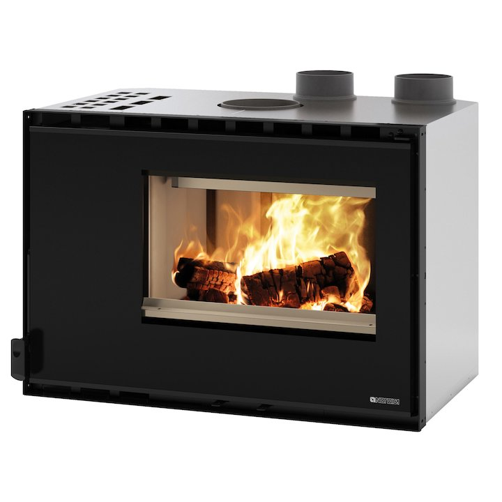 La Nordica Crystal 80 HPS Wood Cassette Fire - Black Glass