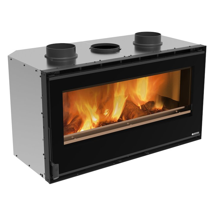 La Nordica Crystal 100 Wood Cassette Fire - Black Glass