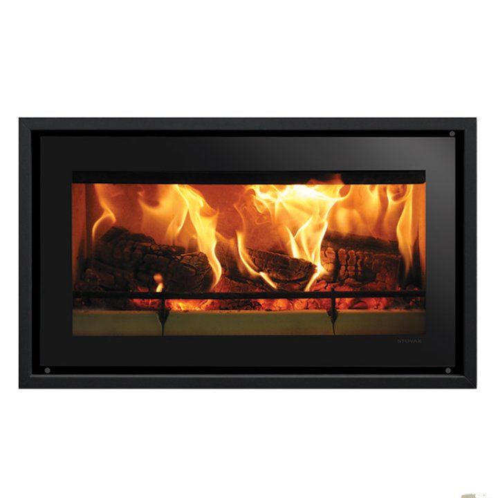 Riva Studio 1 Wood Cassette Fire Black Glass Four Sided Edge+ Frame - Black Glass
