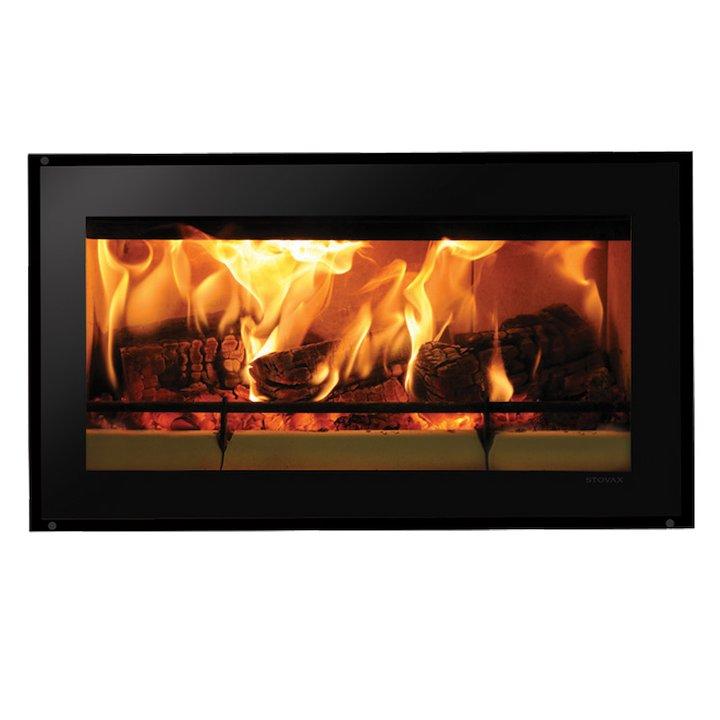 Riva Studio 1 Wood Cassette Fire Black Glass Frameless/Edge - Black Glass