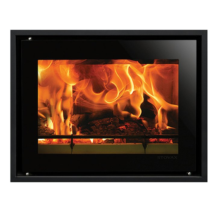 Riva Studio 500 Wood Cassette Fire Black Glass Four Sided Edge+ Frame - Black Glass
