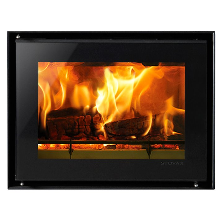 Riva Studio 500 Wood Cassette Fire Black Glass Frameless/Edge - Black Glass