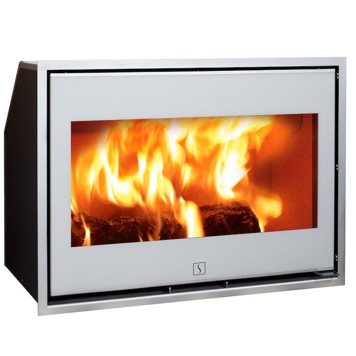 Scan 1002 Wood Cassette Fire White Glass Chrome Trim - White Glass
