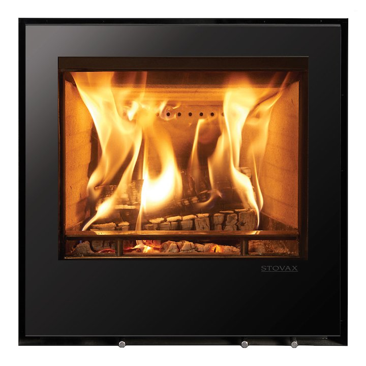 Stovax Elise 540 Wood Cassette Fire Black Glass Frameless/Edge - Black Glass