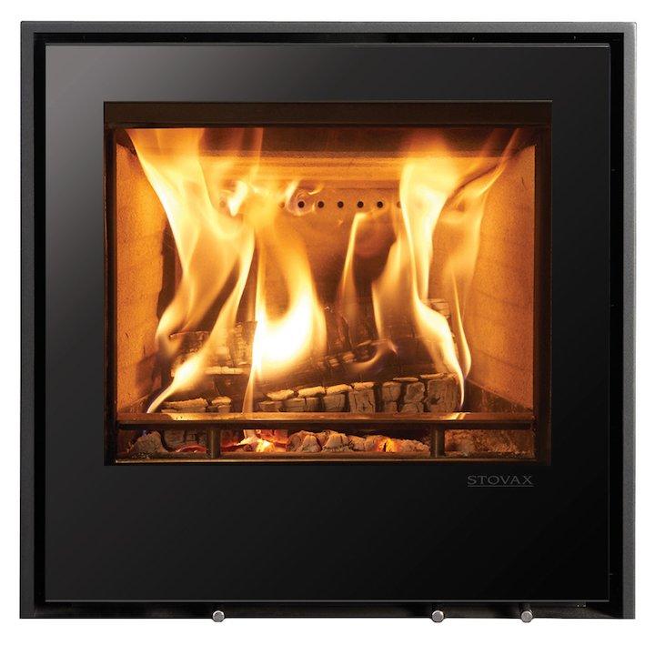 Stovax Elise 540 Wood Cassette Fire Black Glass Three Sided Edge+ Frame - Black Glass