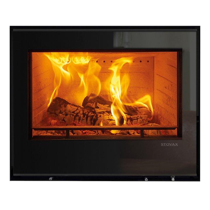 Stovax Elise 680 Wood Cassette Fire Black Glass Frameless/Edge - Black Glass