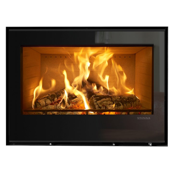 Stovax Elise 850 Wood Cassette Fire Black Glass Frameless/Edge - Black Glass