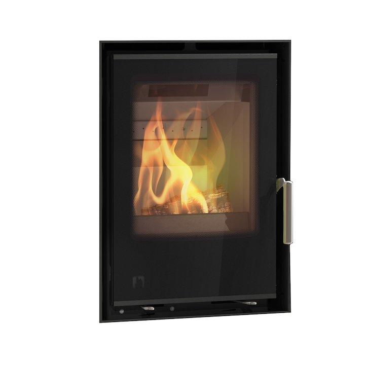 Arada I400 Multifuel Cassette Fire - Frontal Black Glass Frameless/Edge - Black Glass