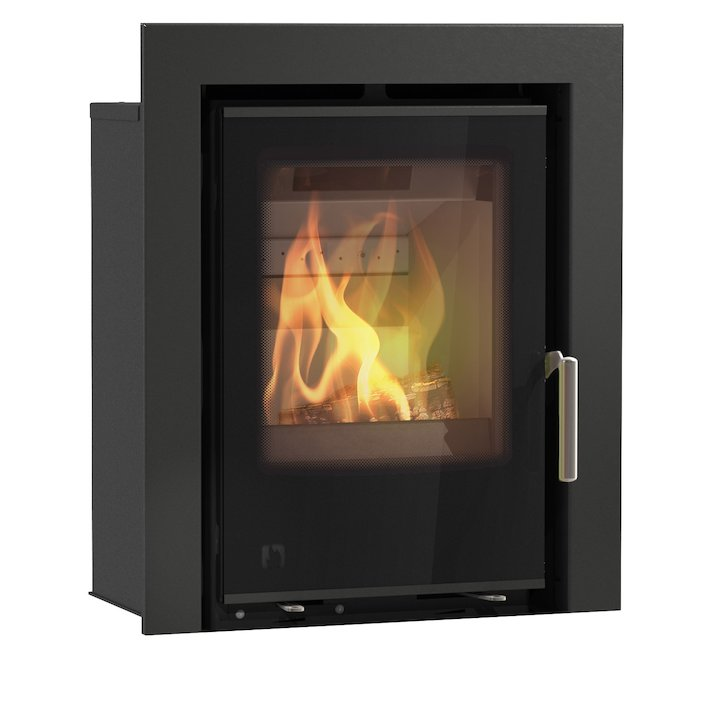 Arada I400 Multifuel Cassette Fire - Frontal Black Glass Three Sided Frame - Black Glass