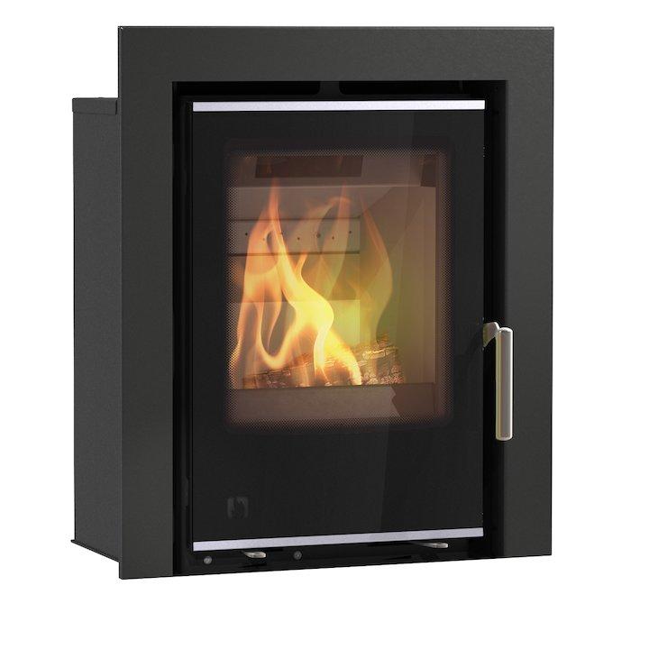 Arada I400 Multifuel Cassette Fire - Frontal Black Glass Three Sided Frame - Black Glass