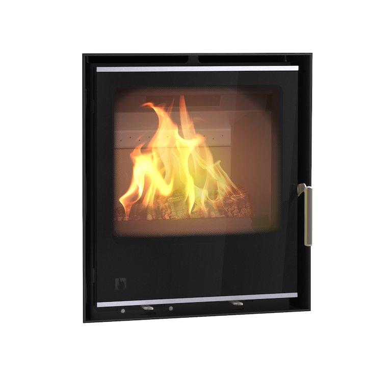Arada I500 Multifuel Cassette Fire - Frontal Black Glass Frameless/Edge - Black Glass