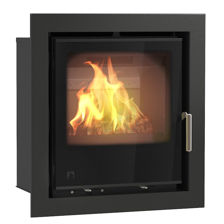 Arada I500 Multifuel Cassette Fire - Frontal Black Glass Four Sided Frame - Black Glass