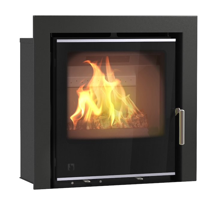 Arada I500 Multifuel Cassette Fire - Frontal Black Glass Three Sided Frame - Black Glass