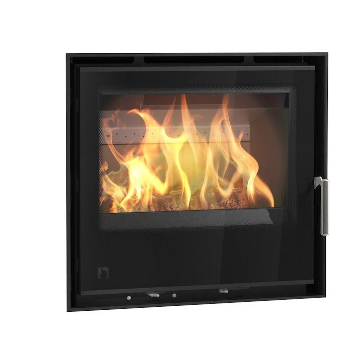 Arada I600 Multifuel Cassette Fire - Frontal Black Glass Frameless/Edge - Black Glass