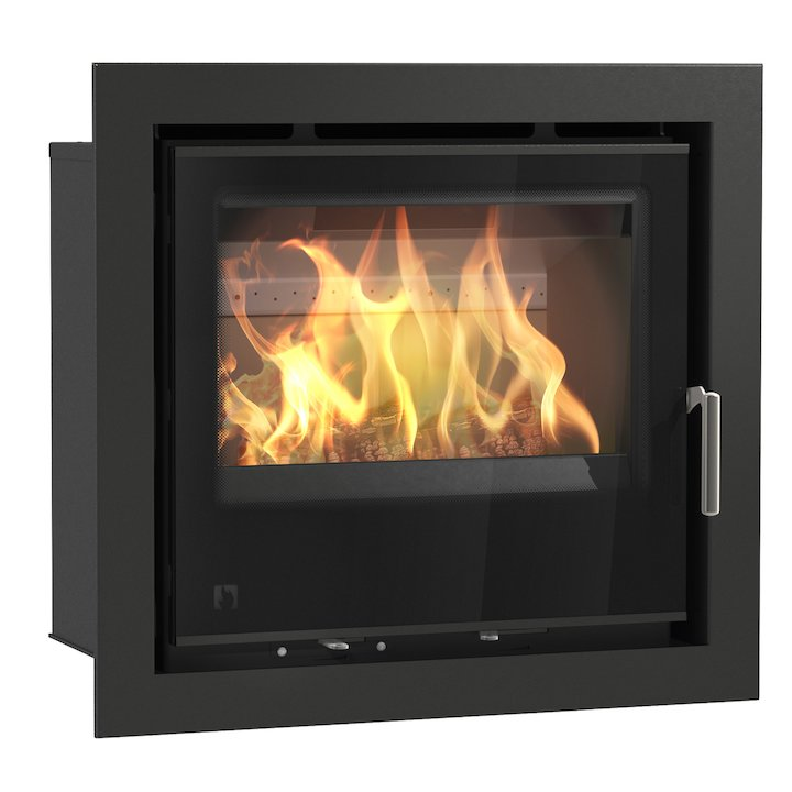 Arada I600 Multifuel Cassette Fire - Frontal Black Glass Four Sided Frame - Black Glass