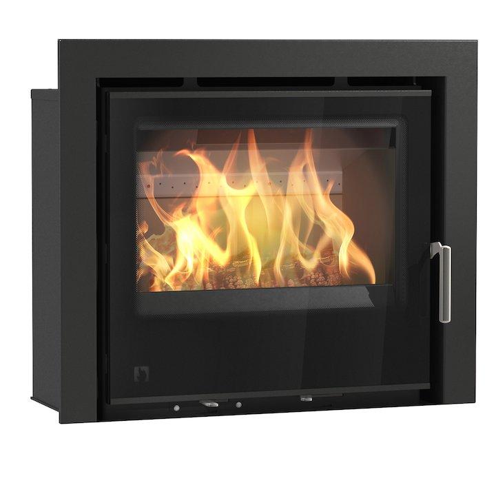 Arada I600 Multifuel Cassette Fire - Frontal Black Glass Three Sided Frame - Black Glass
