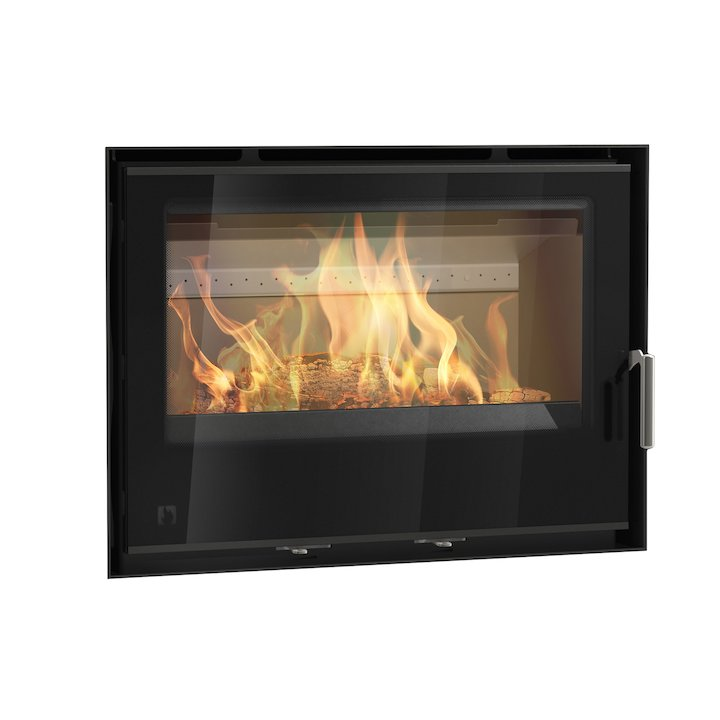 Arada I750 Multifuel Cassette Fire - Frontal Black Glass Frameless/Edge - Black Glass