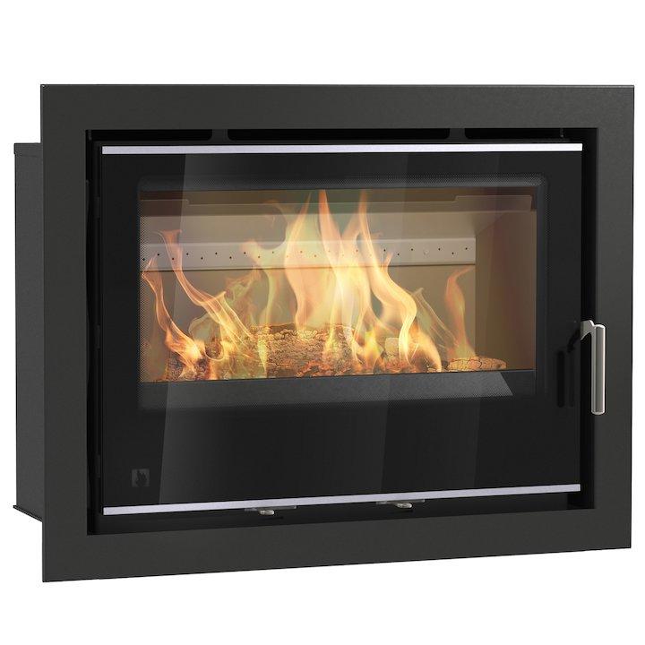Arada I750 Multifuel Cassette Fire - Frontal Black Glass Four Sided Frame - Black Glass