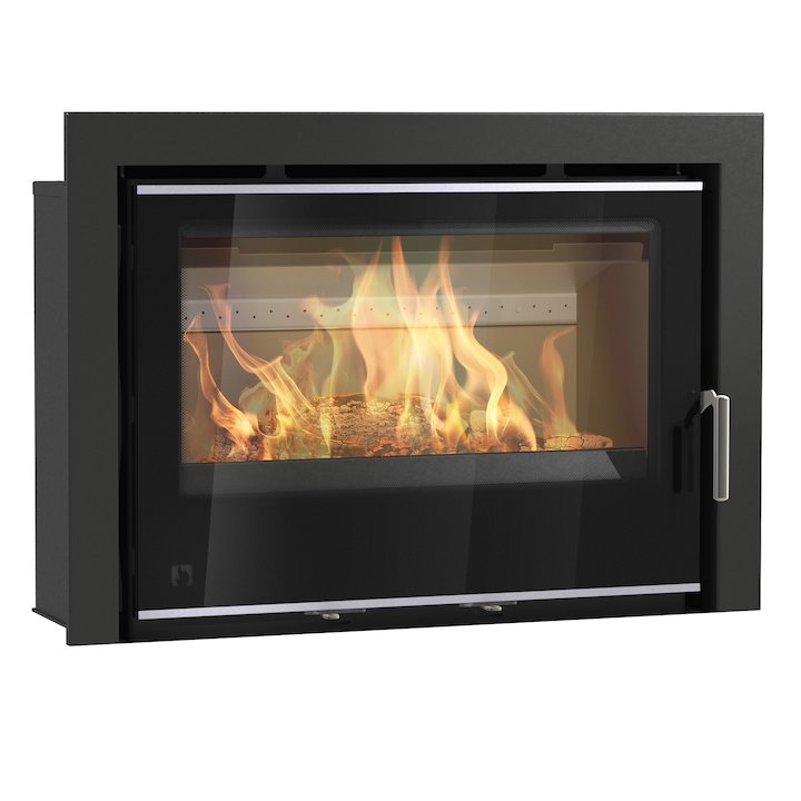 Arada I750 Multifuel Cassette Fire - Frontal Black Glass Three Sided Frame - Black Glass