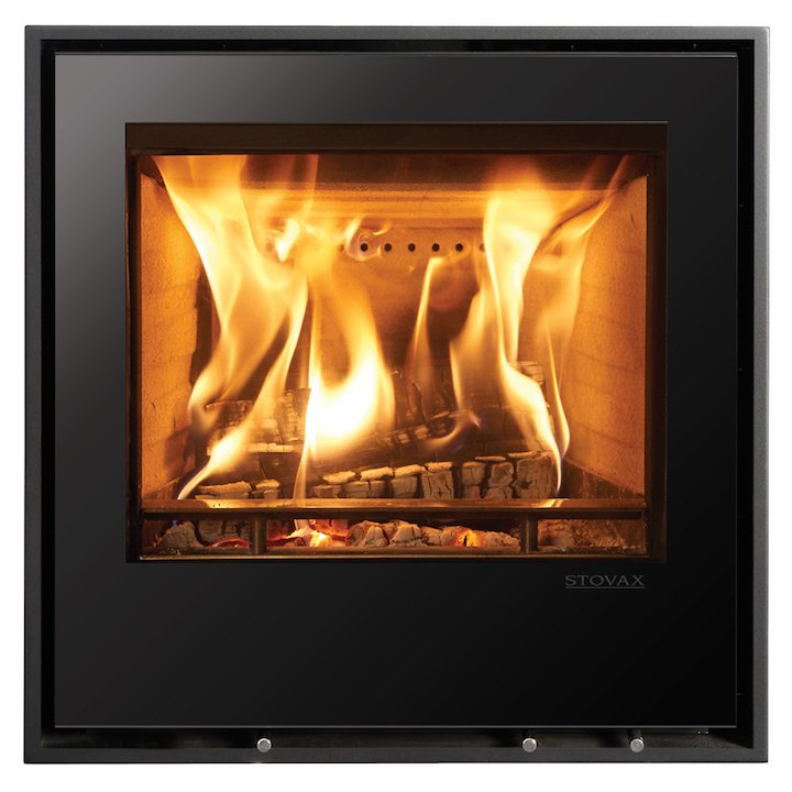 Stovax Elise 540 Multifuel Cassette Fire - Frontal Black Glass Four Sided Edge+ Frame - Black Glass