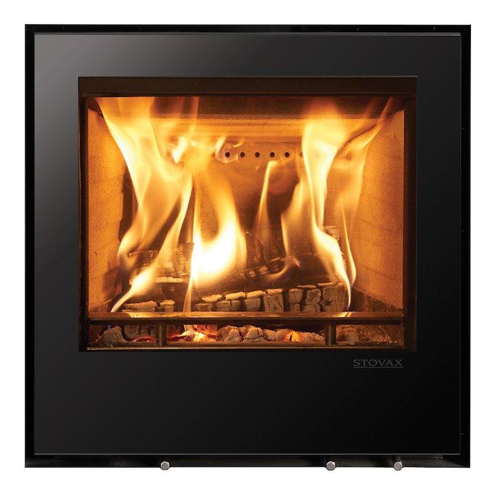 Stovax Elise 540 Multifuel Cassette Fire - Frontal Black Glass Frameless/Edge - Black Glass
