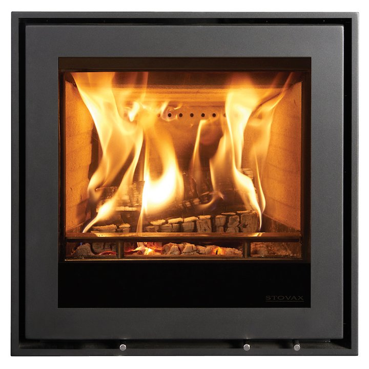 Stovax Elise 540 Multifuel Cassette Fire - Frontal Black Four Sided Edge+ Frame - Black