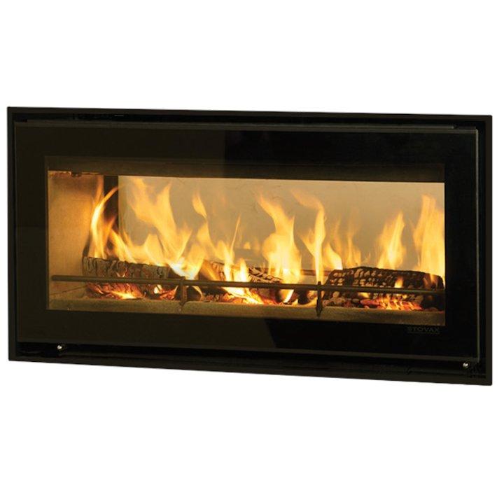 Riva Studio 2 Duplex Wood Cassette Fire - Tunnel Black Glass Four Sided Edge+ Frame - Black Glass