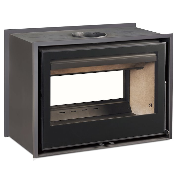 Rocal ARC 80DC Wood Cassette Fire - Tunnel - Black Glass