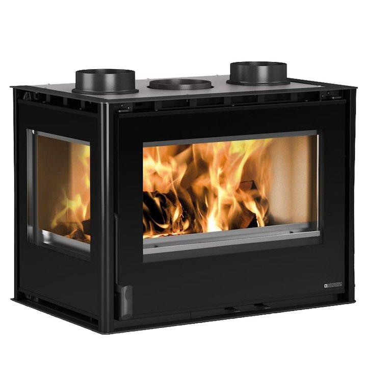 La Nordica Crystal 70 Wood Cassette Fire - Corner - Black Glass