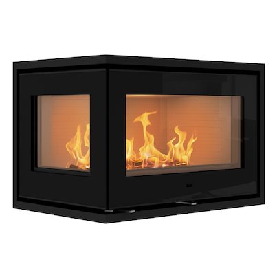 Rais 500/2 Wood Cassette Fire - Corner Black Glass Left Side Glass