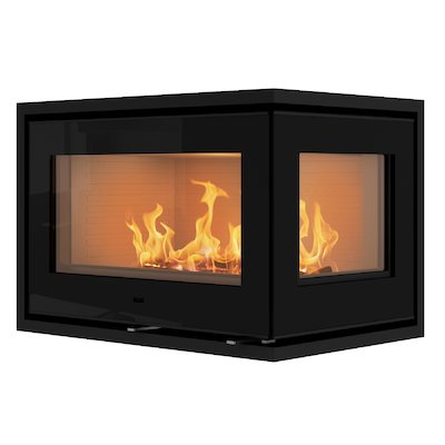 Rais 500/2 Wood Cassette Fire - Corner Black Glass Right Side Glass