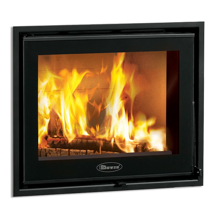 Dovre Zen 100 Built-In Wood Fire - Frontal - Black Glass