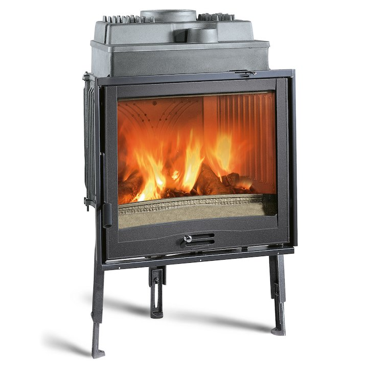 La Nordica Focolare Piano 70 Built-In Wood Fire - Frontal - Black