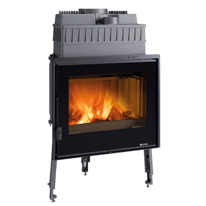 La Nordica Focolare Crystal 70 Built-In Wood Fire - Frontal - Black Glass