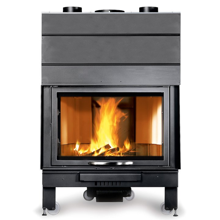 La Noridca Monoblocco Piano 900 Built-In Wood Fire - Frontal - Black