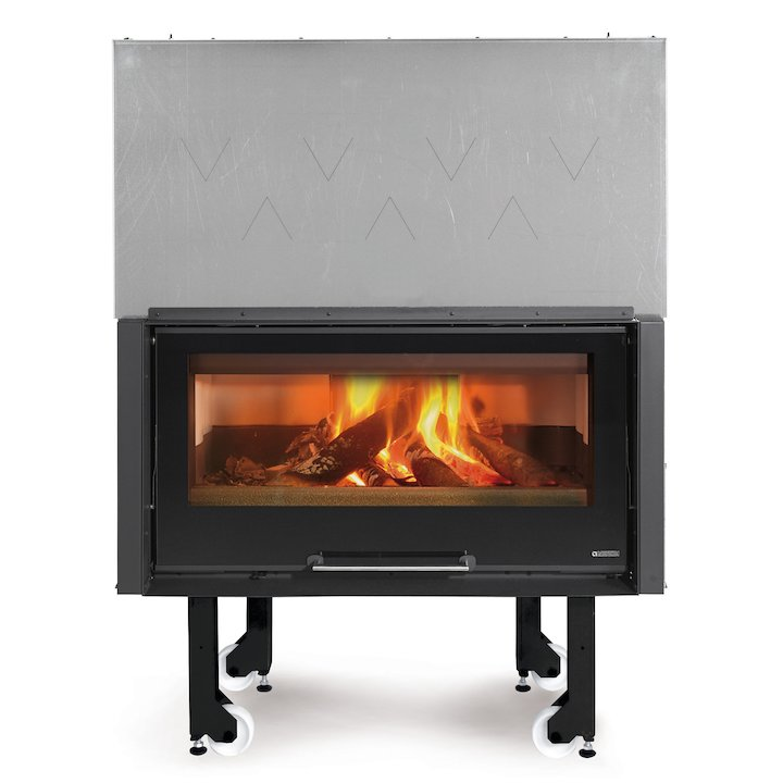 La Noridca Monoblocco Crystal 1000 Built-In Wood Fire - Frontal - Black Glass